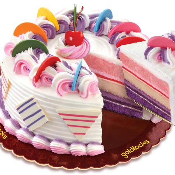 Cake With Cupcakes Goldilocks : Rainbow Cake